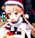 1girl 3d artist_request blonde_hair cake christmas christmas_tree feeding food hat highres kantai_collection mikumikudance santa_hat solo_focus yuudachi_(kantai_collection)
