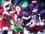 1girl 2boys alternate_costume alternate_hair_length alternate_hairstyle android antlers black_hair black_legwear black_scarf bow candy candy_cane christmas christmas_lights dress extra_arms extra_eyes green_bow grin hat hat_ribbon heart heart_belt hood insect_girl long_hair mettaton mettaton-ex muffet multiple_arms multiple_boys night one_eye_closed one_eye_covered pantyhose papyrus_(undertale) red_nose red_ribbon ribbon rotodisk rudolph_the_red_nosed_reindeer santa_costume scarf short_hair skeleton skirt smile snow undertale violet_eyes white_hat