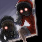 2girls alternate_costume black_hair black_santa_costume blonde_hair braid christmas climbing commentary_request dairi dark glowing glowing_eyes hair_tubes hakurei_reimu hat kirisame_marisa lowres mittens multiple_girls no_mouth over_shoulder sack santa_costume santa_hat single_braid touhou window