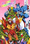 3boys antlers autobot christmas christmas_lights christmas_ornaments christmas_tree gift hat highres insignia merry_christmas multiple_boys reindeer_antlers rodimus santa_hat scarf t.a.c.k. tailgate text transformers ultra_magnus