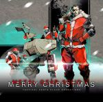 5boys beard brown_hair christmas eyepatch facial_hair hand_on_hip hat ikuyoan lens_flare male_focus metal_gear_(series) metal_gear_solid metal_gear_solid_v multiple_boys prosthesis prosthetic_arm robot sack santa_costume santa_hat thumbs_up venom_snake