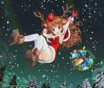 1girl animal_ears antlers armpits blue_eyes boots brown_hair capelet christmas dress gift gloves long_hair mintchoco_(orange_shabette) night red_nose smile snowing solo thigh-highs tree wavy_hair