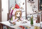 1girl animal_costume animal_ears box brown_hair bunny_costume chair christmas_tree eating empty_eyes food fried_chicken hat ichihara_nina idolmaster idolmaster_cinderella_girls lonely long_hair onigiri pija_(pianiishimo) post-it refrigerator santa_hat sink sitting solo table trash_bag