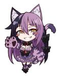 1girl animal_ears bare_shoulders bell black_hair blush blush_stickers bow breasts cat_ears cat_paws cat_tail cheshire_cat_(monster_girl_encyclopedia) chibi fur hair_bow kenkou_cross long_hair lowres monster_girl monster_girl_encyclopedia multicolored_hair paws purple_hair smile solo tail thigh-highs