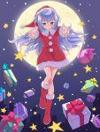 1boy blue_hair blush boots box christmas full_moon gift gift_box hacka_doll hacka_doll_3 hat long_hair moon otoko_no_ko pimgier red_boots red_hat santa_costume santa_hat smile solo star violet_eyes