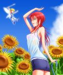 1girl blue_skirt bonnie_(rsg) bra fairy flower hino_kahoko la_corda_d'oro lili_(tekken) long_hair one_eye_closed open_mouth outdoors pink_bra redhead see-through skirt sky sunflower underwear water wet wet_clothes yellow_eyes