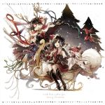 2girls antlers asymmetrical_wings bag black_gloves black_hair boots box brown_hair cape closed_eyes dress elbow_gloves gift gift_box gloves hat hisona_(suaritesumi) houjuu_nue merry_christmas multiple_girls murasa_minamitsu open_mouth polearm red_dress red_gloves reindeer_antlers santa_costume santa_hat sleigh smile snake touhou trident weapon wings