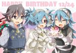 1boy 2girls bag birthday blue_hair brown_eyes brown_hair cupcake family father_and_daughter fire_emblem fire_emblem_if gradient_hair hair_over_one_eye husband_and_wife lazward_(fire_emblem_if) momosemocha mother_and_daughter multicolored_hair multiple_girls pieri_(fire_emblem_if) red_eyes soleil_(fire_emblem_if) twintails