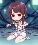 1girl :/ akira_(natsumemo) angry asymmetrical_hair barefoot brown_hair cable camisole display iwakura_lain knot light monitor pulling serial_experiments_lain short_hair solid_circle_eyes solo tangle trembling
