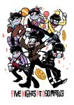 6+boys animal_ears balloon balloon_boy_(fnaf)_(cosplay) bib blue_eyes blue_necktie blush_stickers bonnie_(fnaf)_(cosplay) bowtie brothers chica_(cosplay) enerunaru eyepatch five_nights_at_freddy's food formal foxy_(fnaf)_(cosplay) freddy_fazbear_(cosplay) guitar highres hook_hand instrument matsuno_choromatsu matsuno_ichimatsu matsuno_juushimatsu matsuno_karamatsu matsuno_osomatsu matsuno_todomatsu multiple_boys necktie osomatsu-kun osomatsu-san pink_eyes pizza rabbit_ears sextuplets siblings striped_suit suit the_puppet_(fnaf)_(cosplay) title_parody