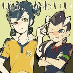 2boys anger_vein armband clenched_teeth crossed_arms inazuma_eleven_(series) inazuma_eleven_go isozaki_kenma lightning_bolt long_hair male_focus mannouzaka multiple_boys one_eye_closed raimon raimon_soccer_uniform saku_anna simple_background soccer_uniform sportswear translation_request tsurugi_kyousuke upper_body