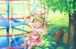 1girl :d ^_^ casual closed_eyes hair_bobbles hair_ornament idolmaster idolmaster_cinderella_girls idolmaster_cinderella_girls_starlight_stage jewelry jpeg_artifacts jungle_gym locket official_art open_mouth pendant shoes smile socks solo yokoyama_chika
