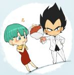 1boy 1girl black_eyes black_hair blush bouquet bulma chibi covering_mouth dragon_ball dragon_ball_z dress earrings flower green_eyes green_hair hand_on_hip holding holding_bouquet husband_and_wife jewelry neckerchief petagon red_dress rose short_hair tuxedo vegeta