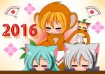 2016 3girls akita_neru animal_costume aqua_hair blonde_hair cat chibi hatsune_miku long_hair monkey_costume multiple_girls side_ponytail silver_hair suzunonaruki vocaloid yowane_haku