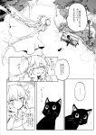 akemi_homura amy_(madoka_magica) black_cat cat comic goddess_madoka kaname_madoka mahou_shoujo_madoka_magica monochrome silverxp translation_request