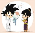 1boy 1girl black_eyes black_hair blush bouquet chi-chi_(dragon_ball) chibi chinese_clothes dragon_ball dragon_ball_z flower hair_bun heart holding husband_and_wife necktie open_mouth petagon rose smile son_gokuu tuxedo twintails