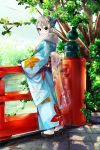 1girl black_eyes fur-trimmed_kimono grey_hair highres idolmaster idolmaster_cinderella_girls japanese_clothes kimono ooike_teru shiomi_shuuko smile solo tabi tree water