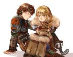 1boy 1girl armor astrid_hofferson blonde_hair blue_eyes blush braid brown_hair chin_rest circlet couple fur_collar hair_over_shoulder hetero hiccup_horrendous_haddock_iii how_to_train_your_dragon how_to_train_your_dragon_2 k@de leg_warmers long_hair looking_away older prosthesis prosthetic_leg side_braid single_braid sitting sitting_on_lap sitting_on_person viking
