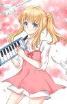 blonde_hair blue_eyes blush dress long_hair miyazono_kaori organ ponytail your_lie_in_april