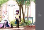 akemi_homura amy_(madoka_magica) bag black_cat cat cover cover_page doujin_cover goddess_madoka kaname_madoka mahou_shoujo_madoka_magica school_bag school_uniform silverxp tree