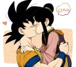 1boy 1girl black_hair blush carrying chi-chi_(dragon_ball) chinese_clothes closed_eyes dougi dragon_ball dragon_ball_z hair_bun heart husband_and_wife kiss onomatopoeia petagon romaji son_gokuu twintails wristband
