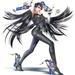 1girl alternate_hair_length alternate_hairstyle ankle_gun bayonetta bayonetta_(character) bayonetta_2 black_hair blue_eyes bodysuit earrings elbow_gloves glasses gloves gun handgun highres jewelry lipstick makeup mario_(series) mole mole_under_mouth official_art one_eye_closed pistol semi-rimless_glasses short_hair simple_background super_smash_bros. weapon white_gloves