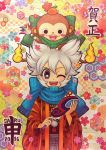 1boy 2016 animal_on_head asa_no_ha_(pattern) black_eyes blush_stickers crossover egasumi flower hakama haori highres inazuma_eleven_(series) inazuma_eleven_go inazuma_eleven_go_chrono_stone japanese_clothes kikkoumon looking_at_viewer monkey multiple_tails namesake new_year notched_ear one_eye_closed open_mouth sarunyan saryuu_evan satsuki_(otomayoxxx) scarf seigaiha silver_hair tail traditional_media two_tails unmoving_pattern youkai youkai_watch