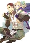 1boy 1girl blonde_hair brown_hair cape circlet fire_emblem fire_emblem:_kakusei gloves grego hana_(interstice) hug hug_from_behind long_hair nono_(fire_emblem) open_mouth pointy_ears short_hair smile