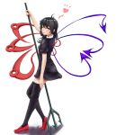 1girl ahoge asymmetrical_hair asymmetrical_wings black_dress black_hair black_legwear dress full_body fuwatoro_(enemy-of-society) highres houjuu_nue looking_at_viewer polearm red_eyes red_shoes shoes short_dress small_breasts solo thigh-highs tongue tongue_out touhou trident weapon wings zettai_ryouiki