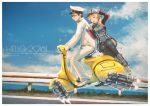 ! 1boy 1girl 2016 :d admiral_(kantai_collection) anchor_hair_ornament black-framed_glasses black_hair black_legwear black_skirt blonde_hair blue_sky boots brown_eyes buttons clouds confetti english flying from_side gloves grass hair_ornament hand_on_another's_back hand_on_headwear happy_new_year hat highres jacket kantai_collection kuon_(kwonchanji) long_hair long_sleeves military military_uniform miniskirt motor_vehicle naval_uniform new_year ocean open_mouth outdoors pants peaked_cap prinz_eugen_(kantai_collection) riding road shoes sitting skirt sky smile street thigh-highs torpedo twintails uniform vehicle white_gloves white_hat white_jacket white_pants white_shoes