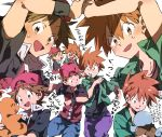 2boys armband backwards_hat baseball_cap brown_eyes brown_hair charmander chokota expressions hat holding jacket looking_at_another male_focus multiple_boys ookido_green open_clothes open_jacket pokemon pokemon:_the_origin pokemon_(creature) red_(pokemon) red_(pokemon)_(remake) squirtle sweatdrop translation_request