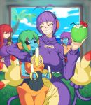 4girls ambipom antenna_hair arm_around_neck banana bandaid bandaid_on_nose biriri-ane_(space_jin) black_sclera breasts coconut deoxys drinking_straw eating food fruit headphones highres large_breasts multiple_girls original palm_tree personification pokemon purple_hair redhead smile space_jin tail tongue tongue_out tree yellow_eyes