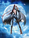 1girl 3d absurdres ankle_gun artist_request ass back backless bayonetta bayonetta_(character) black_hair bodysuit feathers from_behind gloves gun hair_ribbon handgun high_heels highres long_hair moon official_art quadruple_wielding ribbon shoes solo strap very_long_hair weapon