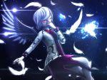 1girl 3d feathers glowing glowing_eyes highres mikumikudance oyasiro35 touhou wings