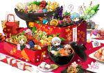 ! 3boys :d :t akeome armor bathing bird blue_hair bowl box cherry_blossoms chibi chin_strap chopsticks cup eating eyepatch fan flag floral_print flower food fox gohei green_eyes green_hair haori hat heart highres hirai_yuzuki ichigo_hitofuri ima-no-tsurugi in_box in_container in_cup in_food inarizushi iwatooshi japanese_armor japanese_clothes kamekichi kashuu_kiyomitsu katana looking_at_viewer lotus_root lunchbox male_focus masu miniboy multiple_boys mutsu-no-kami_yoshiyuki nakigitsune's_fox new_year objectification open_mouth osechi petals plate plover_(animal) pom_pom_(clothes) pot revision shinsengumi shishiou_no_mofumofu shrimp simple_background smile sode soup speech_bubble spoken_exclamation_mark stole sushi sword teapot tokin_hat touken_ranbu translated tsurumaru_kuninaga turtle uguisumaru weapon white_background white_hair yamanbagiri_kunihiro yamato-no-kami_yasusada yellow_eyes