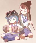 2girls akko_kagari blue_hair brown_hair constanze_albrechtsburger goggles goggles_on_head green_eyes little_witch_academia long_hair magic multiple_girls nagian no_pupils one_side_up ponytail school_uniform seiza sitting skirt