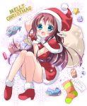 1girl blue_eyes brown_hair can christmas christmas_stocking fish gift gloves hat hazuki_(nukisasi) long_hair mukaido_manaka nagi_no_asukara sack santa_costume santa_hat shell starfish thigh-highs