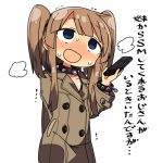 1girl blue_eyes blush bondage_gear bracelet brown_hair collar commentary handheld_game_console jewelry kanikama long_hair lowres masochism nintendo_3ds open_mouth original pokemon pokemon_(game) pokemon_sm pun solo spiked_bracelet spiked_collar spikes sweat translated trench_coat twintails