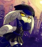 anthro blue_hair city clothed clothing female fur hair hat legwear meowstic nintendo pokemon skirt solo thigh-highs video_game yellow_eyes