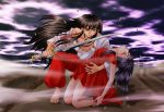 1boy 1girl artist_request baggy_pants bare_legs barefoot black_hair blood brown_hair closed_eyes floating_hair higurashi_kagome holding injury inuyasha inuyasha_(character) katana kneeling long_hair looking_at_viewer pants parted_lips red_pants serious sword unconscious weapon wind