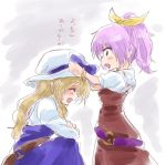 2girls ^_^ ^o^ adjusting_another's_clothes blonde_hair blush_stickers bow bracelet closed_eyes cowboy_shot dress hair_ribbon hat hat_bow jewelry long_hair multiple_girls open_mouth ponytail profile purple_hair ribbon short_hair siblings sisters sketch smile touhou translated unya violet_eyes watatsuki_no_toyohime watatsuki_no_yorihime younger