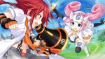 2girls battle boots bow elbow_gloves game_cg game_console gloves hair_ornament long_hair loudspeaker multiple_girls neptune_(series) official_art pink_hair redhead sega_dreamcast sega_dreamcast_(sega_hard_girls) sega_hard_girls sword tennouboushi_uzume_(choujigen_game_neptune) tsunako twintails weapon