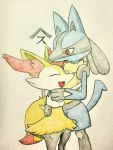 braixen highres hug lucario no_humans pokemon pokemon_(creature) red_eyes spikes