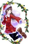 :d bangs black_legwear blunt_bangs boots brown_boots christmas fur_trim green_eyes hat highres jumping long_hair looking_at_viewer open_mouth original outstretched_hand pantyhose pom_pom_(clothes) sack santa_costume santa_hat smile yaamodo_seijin