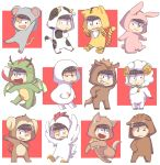 :< :3 :d :p ;d alternate_costume animal_costume animal_ears animal_hood antennae arms_up bangs bell black_eyes black_hair blunt_bangs breathing_fire brothers bunny_costume bunny_tail chibi chicken_costume chinese_zodiac claws collar cow_costume cow_ears cow_tail dog_collar dog_costume dog_ears dog_tail dragon_costume dragon_horns dragon_tail dragon_wings eyebrows eyebrows_visible_through_hair fang fire fur_trim grin half-closed_eyes heart heart_in_mouth highres honrs hood horns horse_costume horse_ears horse_tail koineko_(aph0310) looking_at_viewer male_focus matsuno_choromatsu matsuno_ichimatsu matsuno_juushimatsu matsuno_karamatsu matsuno_osomatsu matsuno_todomatsu monkey_costume monkey_ears monkey_tail mouse_costume mouse_ears mouse_tail multiple_boys multiple_views new_year one_eye_closed open_mouth osomatsu-kun osomatsu-san paw_pose pig_costume pig_ears rabbit_ears sextuplets sheep_costume sheep_horns siblings smile snake_costume snake_tail tail tiger_costume tiger_ears tiger_print tiger_tail tongue tongue_out wings