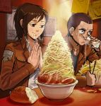 1boy 1girl 27_degrees bread brown_eyes brown_hair conny_springer drinking drooling food glass highres jacket noodles ponytail ramen saliva sasha_browse shingeki_no_kyojin short_hair smile sweat water
