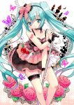 1girl aqua_eyes aqua_hair blush butterfly chimochi choker dress dyudyu flower food food_themed_clothes fruit hairband hatsune_miku high_heels long_hair microphone microphone_stand musical_note romeo_and_cinderella_(vocaloid) romeo_to_cinderella_(vocaloid) shoes tattoo twintails very_long_hair vocaloid