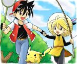1boy 1girl bandaid baseball_cap black_hair blonde_hair blue_eyes brown_eyes butterfly_net fingerless_gloves fishing_rod gloves hand_holding hand_net hat holding holding_fishing_rod holding_hands net pika_(pokemon) pikachu poke_ball pokemoa pokemon pokemon_(creature) pokemon_special red_(pokemon) running waist_poke_ball yellow_(pokemon)