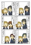 6+girls brown_hair character_request comic extra hairband k-on! multiple_girls open_mouth ribbon school_uniform shiitake_nabe_tsukami short_hair simple_background sweat tainaka_ritsu translated