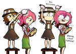 2girls bandages brown_eyes brown_hair bun_cover check_translation comic double_bun hat highres ibaraki_kasen looking_at_each_other moonywitcher multiple_girls necktie oni open_mouth pink_eyes pink_hair ribbon short_hair simple_background skirt tagme touhou translation_request usami_renko white_background